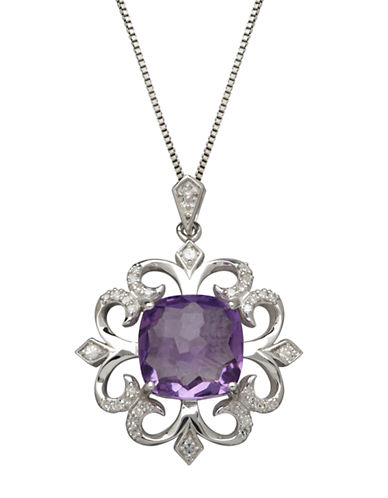 LORD & TAYLOR Sterling Silver Amethyst and Diamond Pendant Necklace