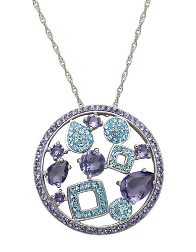 LORD & TAYLORSterling Silver Tanzanite and Aqua Colored Crystal Pendant Necklace
