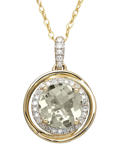 LORD & TAYLOR14K Yellow Gold Amethyst and Diamond Pendant