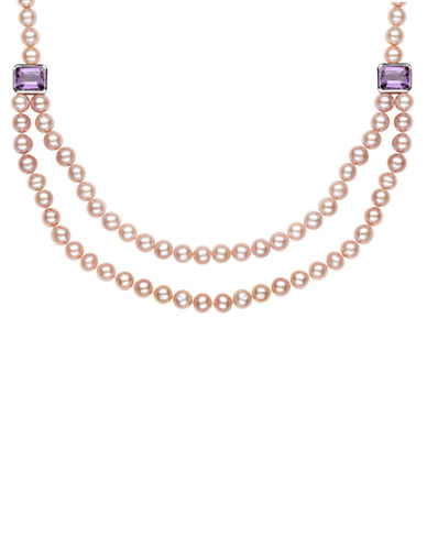 LORD & TAYLOR Sterling Silver Pink Freshwater Pearl and Amethyst Necklace