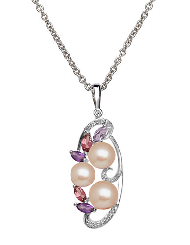 LORD & TAYLOR Sterling Silver Freshwater Pearl Diamond Pendant Necklace with Amethyst and Pink Tourmaline