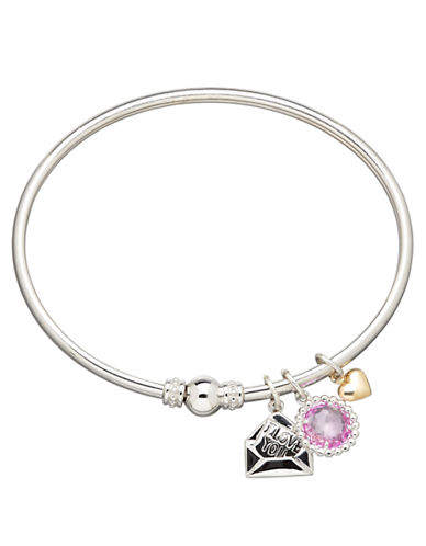 LORD & TAYLOR Sterling Silver and 14K Yellow Gold Pink Amethyst Charm Bracelet