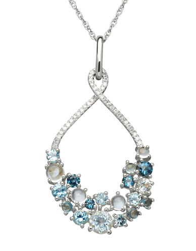 LORD & TAYLORSterling Silver White Topaz and Multi Blue Topaz Pendant Necklace