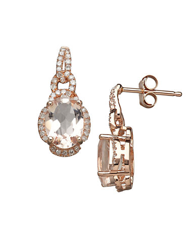LORD & TAYLOR 14K Rose Gold Morganite and Diamond Earrings