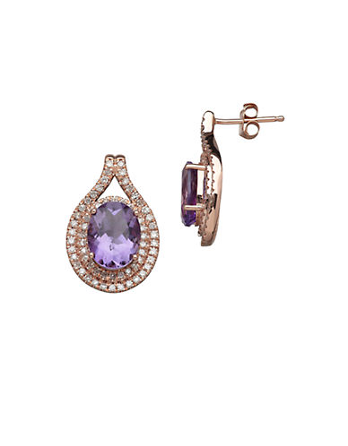 LORD & TAYLOR 14K Rose Gold Amethyst and Diamond Earrings