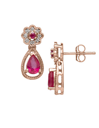 LORD & TAYLOR Diamond And Ruby 14k Rose Gold Drop Earrings