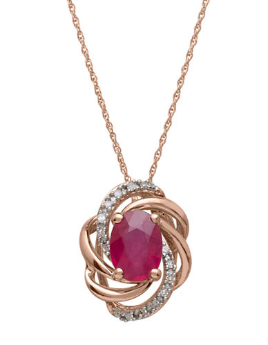 LORD & TAYLOR Diamond And Ruby 14K Rose Gold Pendant Necklace