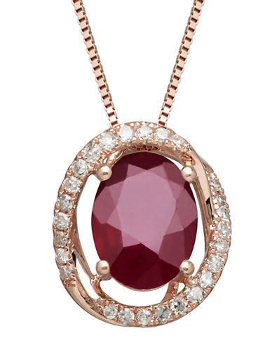 LORD & TAYLOR Diamond And Ruby 14K Yellow Gold Pendant Necklace