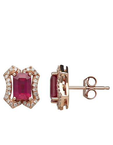 LORD & TAYLOR 14K Yellow Gold Natural Ruby and Diamond Earrings