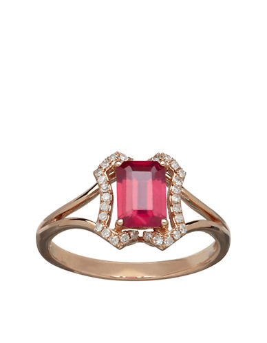 LORD & TAYLOR Diamond And Ruby 14K Yellow Gold Ring