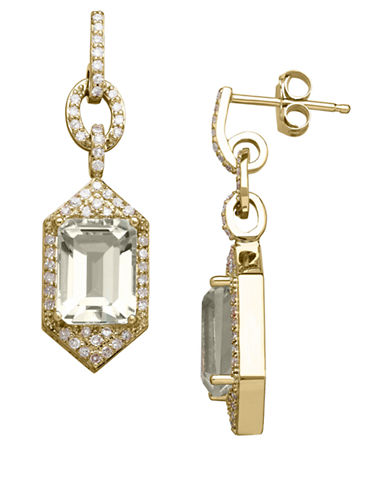 Lord & Taylor 14K Yellow Gold Green Amethyst and Diamond Earrings