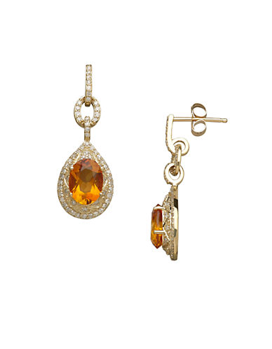 LORD & TAYLOR14K Yellow Gold Citrine and Diamond Drop Earrings