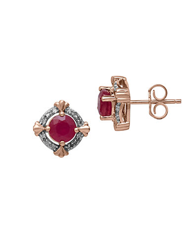 LORD & TAYLOR Diamond And Ruby 14K Rose Gold Stud Earrings