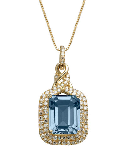 LORD & TAYLOR14K Yellow Gold Blue Topaz and Diamond Pendant Necklace