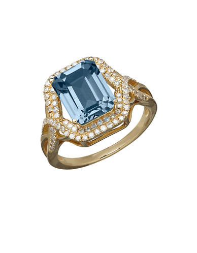 LORD & TAYLOR14K Yellow Gold Blue Topaz and Diamond Ring