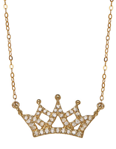 LORD & TAYLOR14K Yellow Gold Diamond Crown Necklace