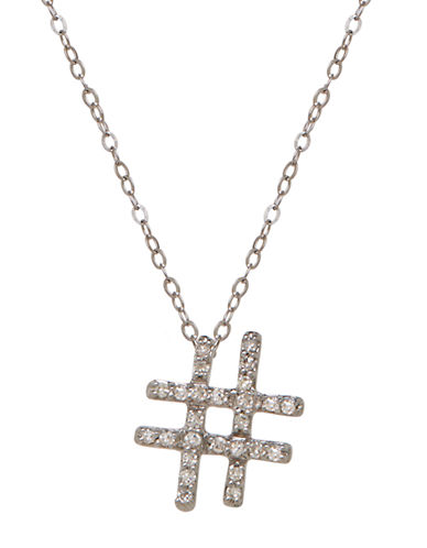 Lord & Taylor 14K White Gold Diamond Hashtag Necklace