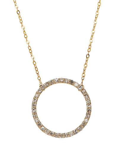 LORD & TAYLOR 14K Yellow Gold Diamond Circle Necklace