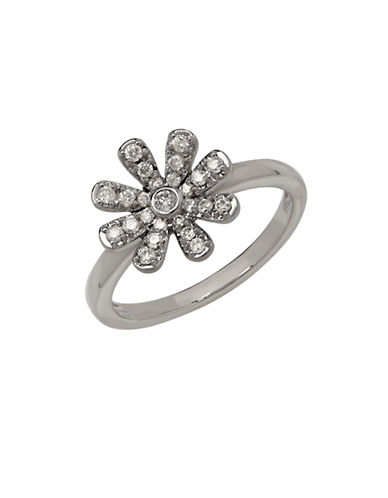 LORD & TAYLOR 14K White Gold Diamond Flower Ring
