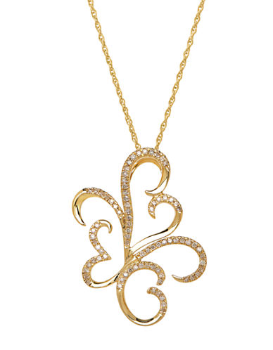 LORD & TAYLOR14K Yellow Gold Diamond Pendant Necklace