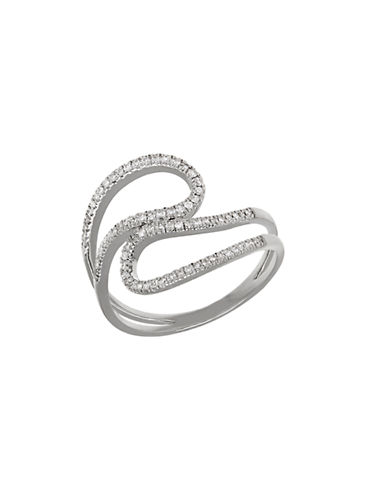LORD & TAYLOR Diamond and 14K White Gold Open Swirl Ring