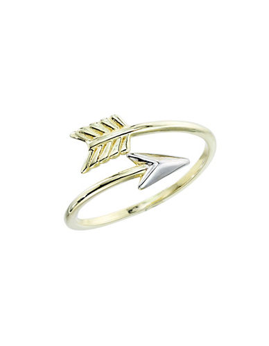 LORD & TAYLOR 14K Yellow Gold and Rhodium Arrow Ring