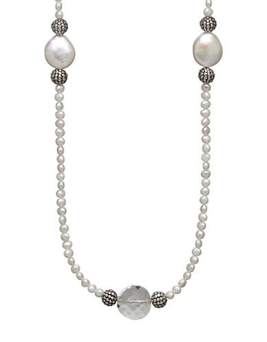 Lord & Taylor Sterling Silver 12-13MM Freshwater Coin Pearl Necklace with Swarovski Crystal Beads