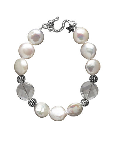 Lord & Taylor Sterling Silver Freshwater Coin Pearl Necklace with Swarovski Crystal Beads