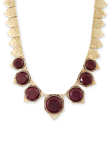 LUCKY BRANDGold Tone and Red Jade Collar Necklace