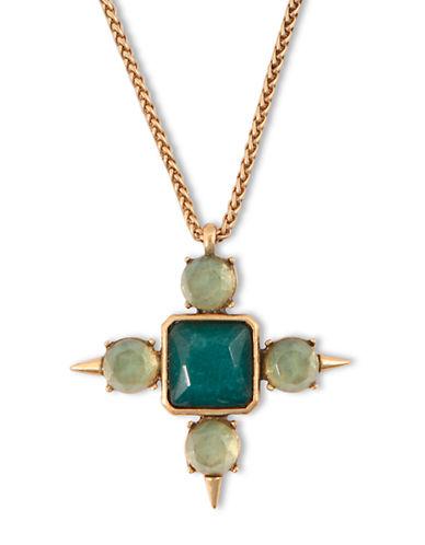 LUCKY BRANDGold Tone and Green Quartz Cross Pendant Necklace