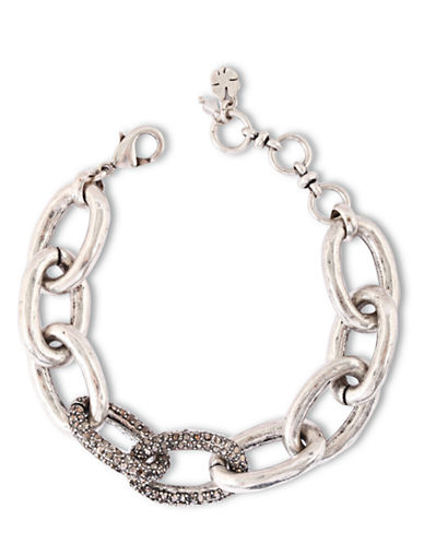 LUCKY BRAND Silver-Tone and Clear Glitz Large Link Bracelet