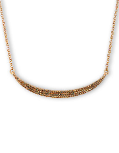 LUCKY BRAND Gold Tone and Crystal Pave Bar Necklace