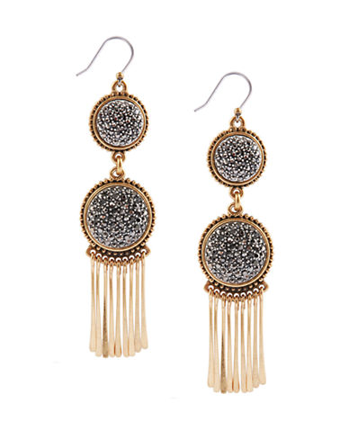 LUCKY BRANDTwo Tone and Crystal Statement Drop Earrings