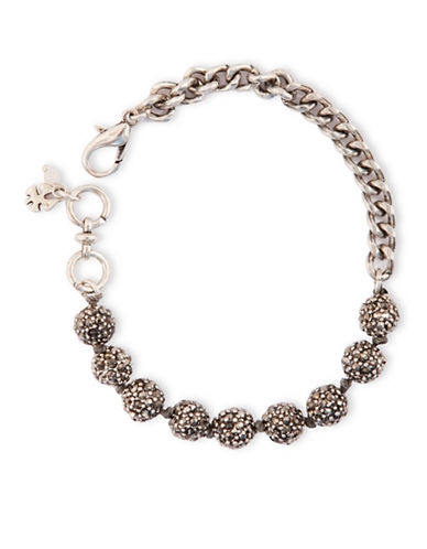 LUCKY BRAND Silver Tone Crystallized Ball Link Bracelet