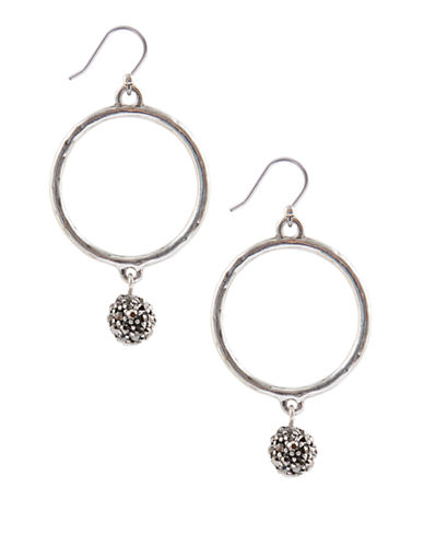LUCKY BRAND Silver Tone Hoop Earrings with Crystal Balls