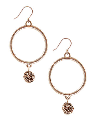LUCKY BRAND Gold Tone Hoop Earrings with Crystal Balls