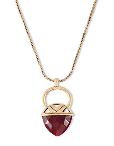 LUCKY BRANDGold Tone and Red Jade Pendant Necklace