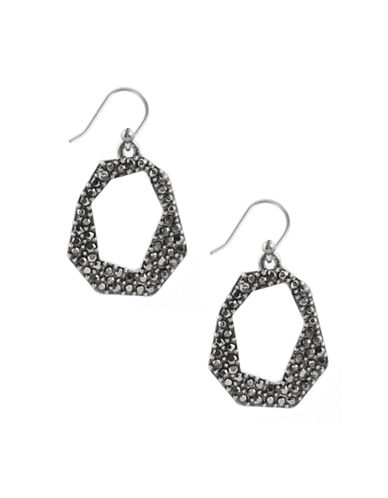 LUCKY BRAND Silver-Tone and Glitz Geometric Drop Earrings