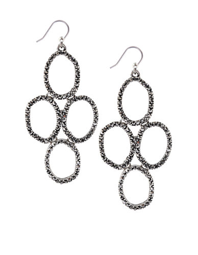 LUCKY BRAND Silver-Tone and Glitz Stacked Circle Drop Earrings