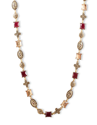 LUCKY BRANDGold-Tone and Red Mixed Stone Collar Necklace
