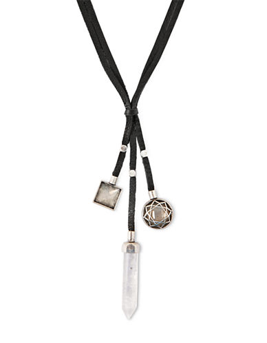 LUCKY BRANDSemi-Precious Rock Crystal and Leather Three-Strand Necklace
