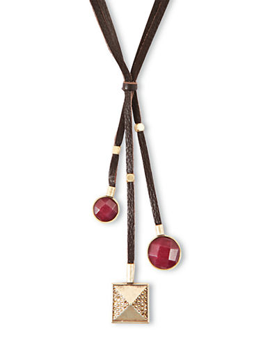 LUCKY BRANDSemi-Precious Red Jade and Leather Three-Strand Necklace
