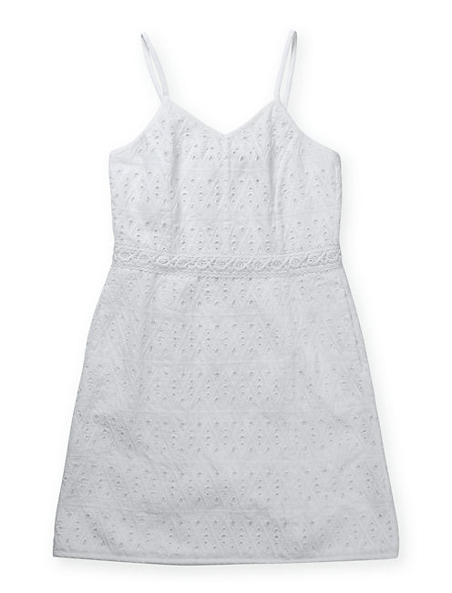 DRESS W/ CROCHET TRIM, LUCKY WHITE