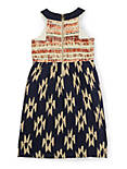 FABRIC MIXING IKAT DRESS, BLUE MULTI