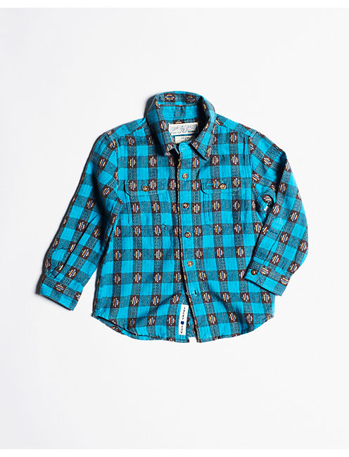 FLANNEL WORKWEAR SHIRT, TURQ COMBO