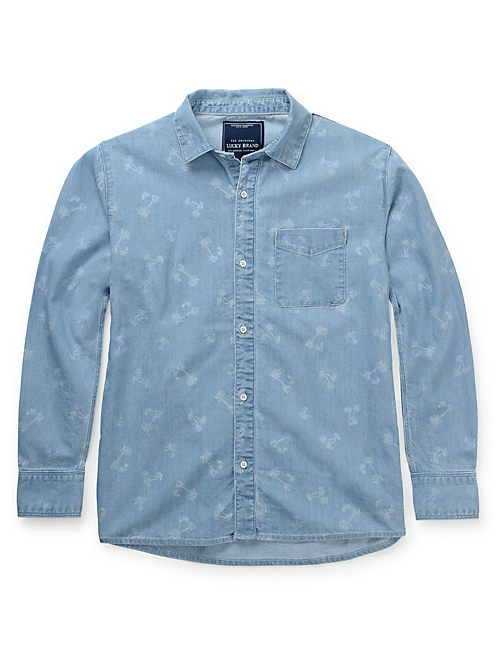 PALM PRINT DENIM SHIRT, DEATH VALLEY