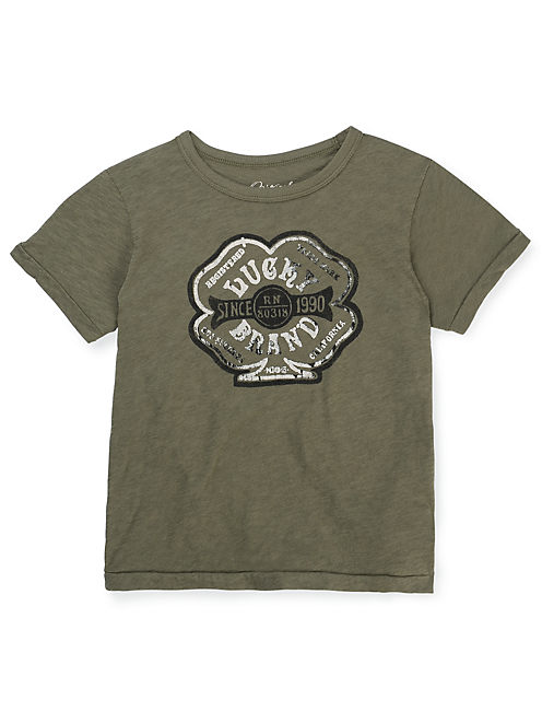 BLACK LUCKY APPLIQUE TEE, OLIVE