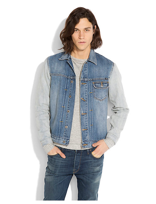 BLEACH OUT DENIM JACKET, TWO-TONE