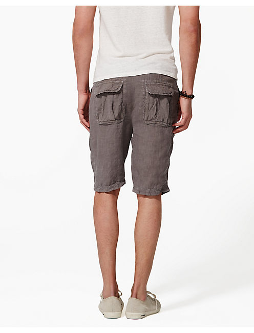 SUNSET LINEN SHORTS, #1631 CHARCOAL GRAY