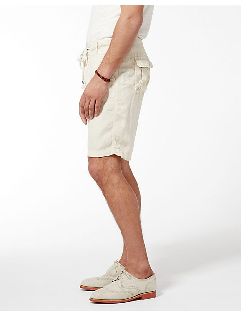 SUNSET LINEN SHORTS, #1623 BONE WHITE